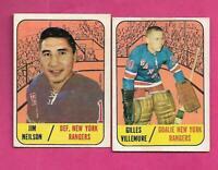 1967-68 TOPPS RANGERS GILLES VILLEMURE + JIM NEILSON  CARD   (INV# C6011)