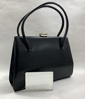 Waldybag Vintage 1950s Black Calf Leather Handbag Olive Fabric Lining & Mirror