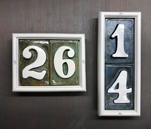 Room, Apartment, Condo, number address plaque. Applewood Pottery Frame. 3D tiles
