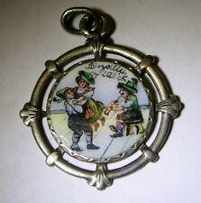 Antique Art Nouveau Austrian Silver Enamel Couple Dancing Charm Waltz J. Strauss