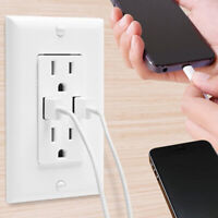 6 pack Dual USB Wall Outlet Charger Port Socket with 15A Electrical Receptacles