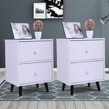 2 PCS 2 Drawer Nightstand Bedside Cabinet End Table Bedroom Furniture Storage