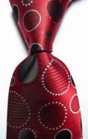 New Classic Dot Red White Black JACQUARD WOVEN 100% Silk Men's Tie Necktie