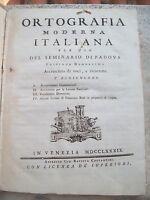 1789 ORTOGRAFIA MODERNA ITALIANA. JACOPO FACCIOLATI DA TORREGLIA (COLLI EUGANEI)