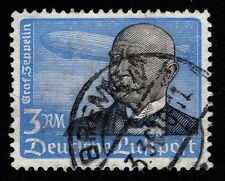 Germany 1934 3M Zeppelin Air Mail Stamp SCARCE HORIZONTAL Gum Used M
