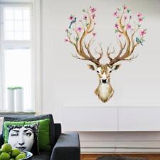 Sika Deer Head Flowers Bird Wall Stickers Wall Decals Kids Home Decor Mural - LD