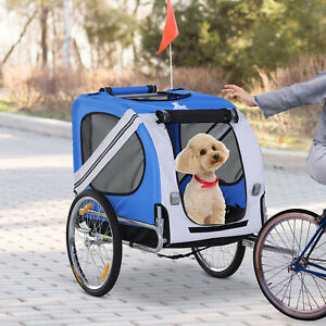 Fold Up Pet Bicycle Cargo Trailer for Dogs & Cats Steel Frame Oxford White