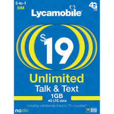 Lycamobile Prepaid Sim card with $19 Unlimited Plan for 3 Months Preloaded