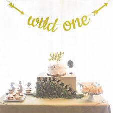 gold glitter wild one banner party first birthday sign boy girl decor suppliesHT