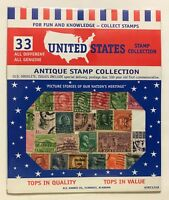 ANTIQUE STAMP COLLECTION - 33 DIFFERENT U.S. STAMPS - OLD OBSOLETE ISSUES