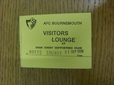 Billete De 21/09/1996: Notts County Bournemouth V [visitantes Lounge]. bobfrankandelv