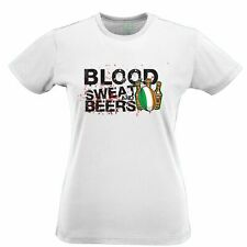 Ireland Rugby Supporter Womens TShirt Blood, Sweat And Beers Six Nations Sports