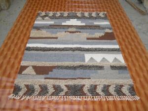 Kilim Dhurrie Afghan Area Rug yoga mat 4X6 ft Hand Woven Navajo Wool Rug Turkish