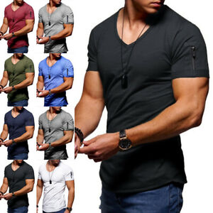 Plus Size Mens Short Sleeve V Neck T Shirt Casual Solid Slim Fit Zipper Tops Tee