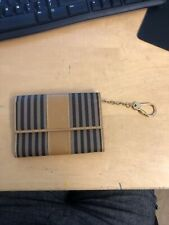 Fendi Wallet Card Case Pequin Stripe Logo Brown Canvas Leather Chain Great