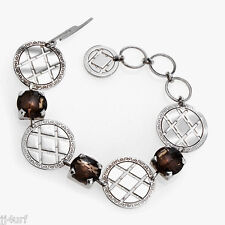 Rebecca Jewelry, 10.86CTW Hydro Smoky Quartz Medallion Bracelet, Sterling Silver