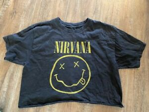 Nirvana Band Ladies Belly Top T Shirt Size M