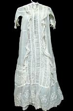 ANTIQUE 1800s VICTORIAN LONG LACY RUCHED SMOCKED INFANT CHRISTENING DRESS GOWN