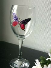 Tall Clear SINGLE Wine Glass Balloon Hand Paint Etched Butterfly 300mL Drink Cup