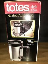 Totes Heated Auto Mug 16 Oz Size Stainless Steel Black 12V Dc Adapter Non Slip