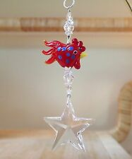 =^.^= Star Suncatcher made with 40mm Swarovski Clear Crystal Red Rooster Slvr