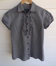 NNT Women's Grey-Black & White Check Short-Sleeve Shirt - Size 8