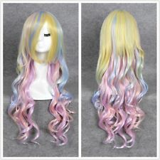 Women Costume Long Curly Lolita Unicorn Cosplay Hair Party Wig Rainbow blonde
