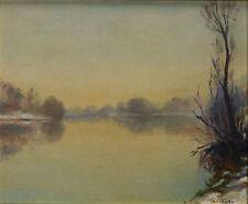 Henri LINARD (1906-)Huile sur toile / paysage lacustre Impressionnisme landscape
