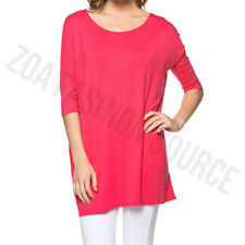 Womens Piko Style Short Sleeve Boatneck Long Tunic Top T-Shirt USA S M L XL PLUS