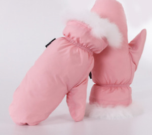 Women's shiny nylon down rabbit fur gloves down mittens mitts winter wet-look