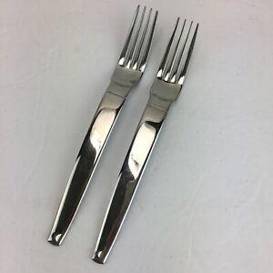 "2 Farberware FJORD Millennium Modern Stainless Flatware Rare Forks 8"" long"