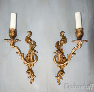 Pair Large Vintage French Gilded Bronze SconcesLouis XV Caffieri Rococo Style