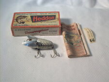 Vintage old wood fishing lure Heddon Crazy Crawler Silver Shore w/ Box & Paper