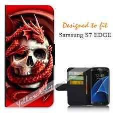 For Samsung Galaxy S7 EDGE Wallet Flip Phone Case Cover Y00160 Skull Dragon