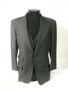 Tom Ford Gray 40S 3pc Men's Suit Flat Front silky wool