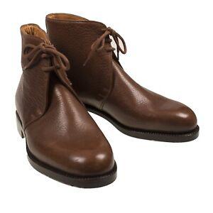 Silvano Lattanzi Brown Leather Chukka Boots Shoes 8.5 (EU 7.5) Handmade in Italy
