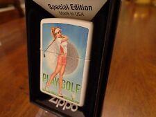 PINUP GIRL PLAY GOLF GOLFER BUSTY ZIPPO LIGHTER MINT IN BOX KEITH GARVEY