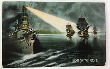Battleship Postcard Light On The Past Postmarked 1907 Bosselman & Co Germany