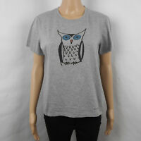Burberry Prorsum Collection Womens T-Shirt Gray Owl Print Size L Large