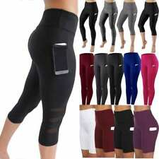 Womens Capri Yoga Leggings With Pocket Gym High Waist Fitness Training Pants