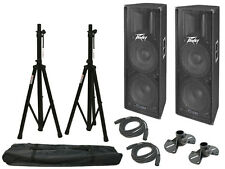 "Peavey (2) Pv215D Pro Audio DJ Powered 800W Dual 15"" Speaker W/ Stand & Cable"