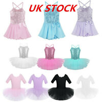 UK Girl Ballet Dress Tutu Leotard Dance Gymnastics Latin Sequin Straps Dancewear