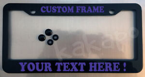 Custom personalized black license plate frame + screw covers COLOR CHOICE Font 2