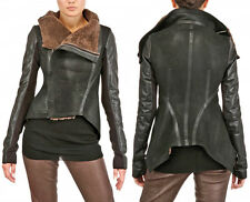 RICK OWENS Black Leather Brown Shearling Fur Biker Asymmetric Jacket Coat US 10