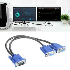 VGA Splitter Cable 1 Computer to Dual 2 Monitor Adapter Male to Female Wire Cord