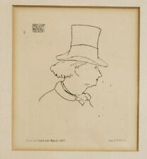Edouard Manet Etching of Charles Baudelaire in Profile 1862 Framed & Matted NOS