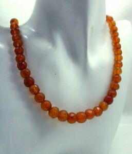 Antique Single Strand Genuine Fossilized Amber Bead Necklace