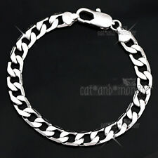 18K WHITE GOLD GF SILVER SOLID MENS WOMENS CURB RING LINK CHAIN BANGLE  BRACELET