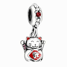 Silver Charms Lucky Cat Bead Pendant For Sterling 925 Bracelets Necklace Chain