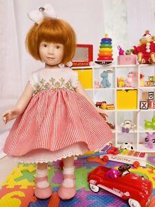 Boneka Stripe Dress Embroidered Bodice 4 Heather Maciak Jenny & Lexie Dolls